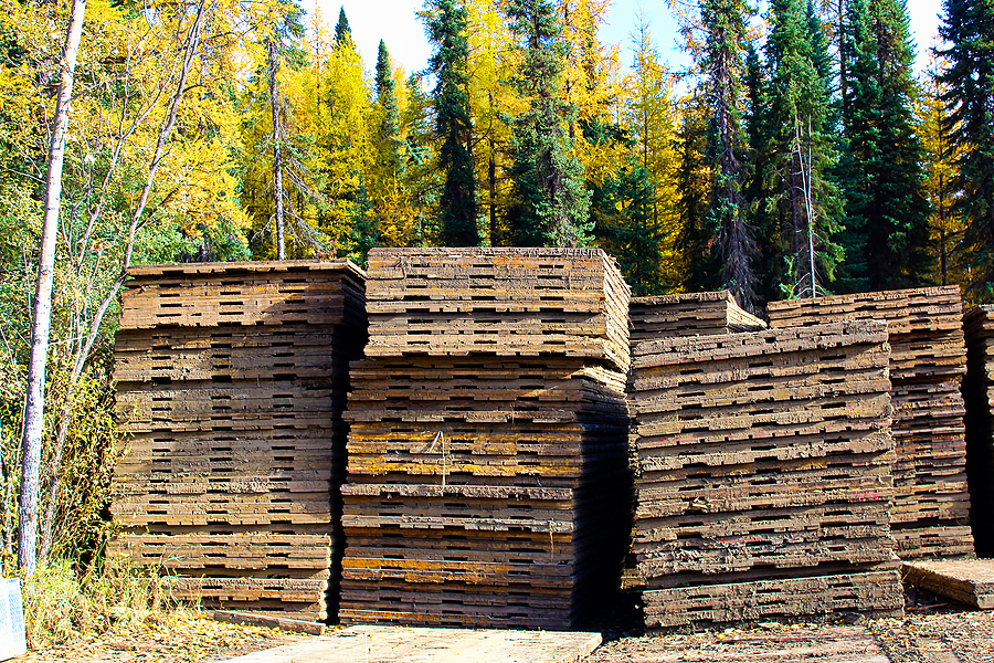 Piles of bamboo mats used to build temporary roads