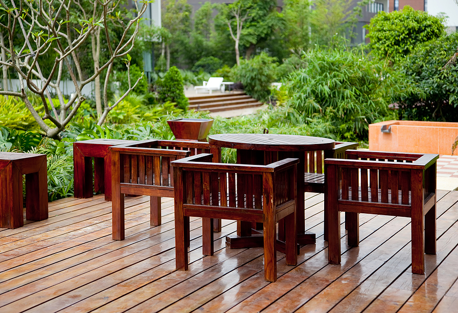 House patio with bamboo products