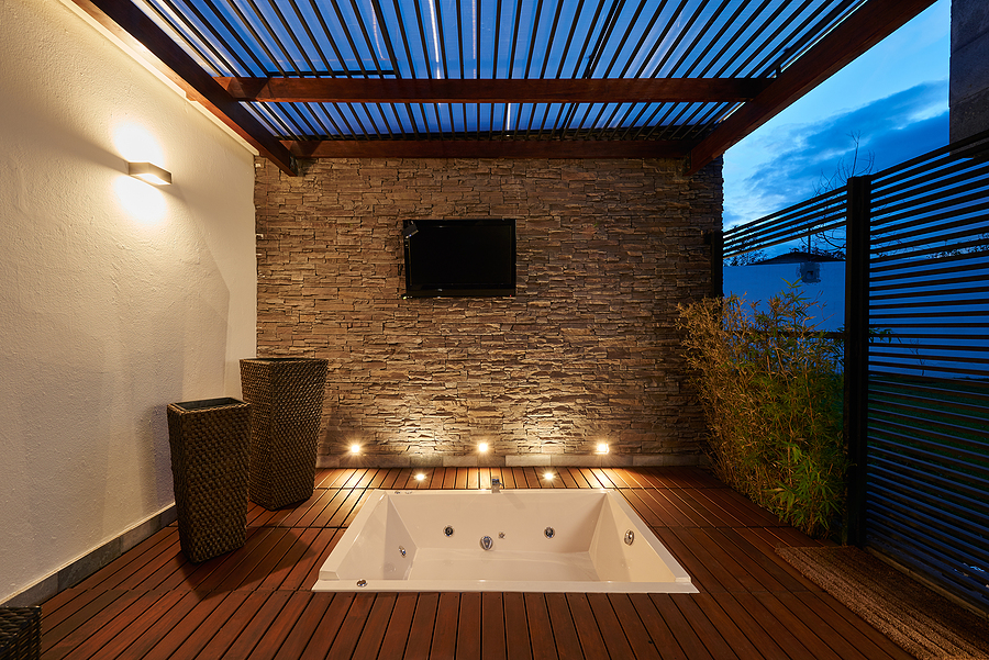 Beautiful modern terrace lounge with bamboo products